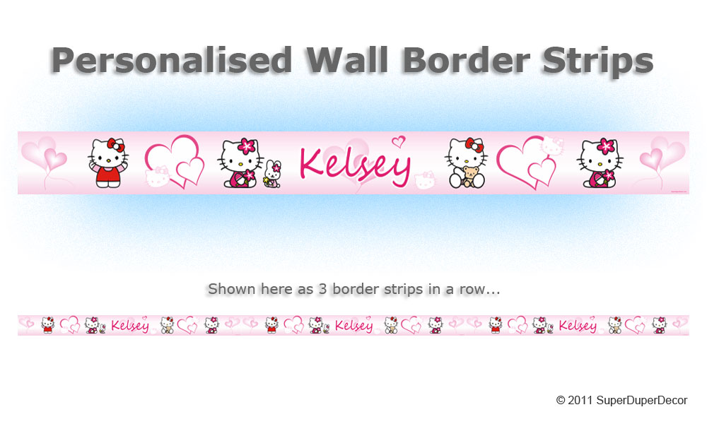 HELLO KITTY HEARTS PINK personalised bedroom wall border strips
