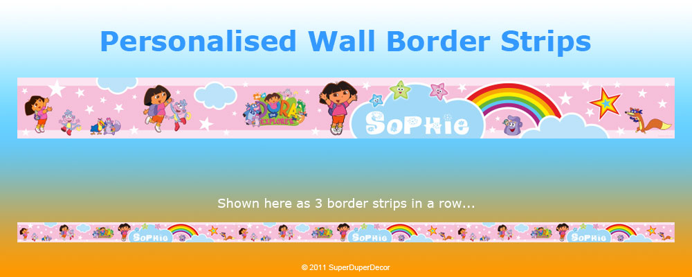 DORA THE EXPLORER personalised wall border strips