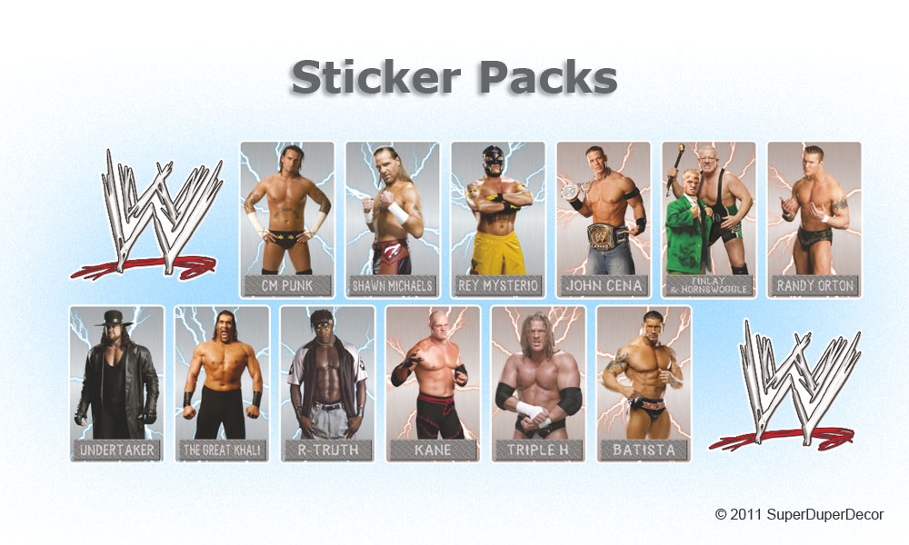 WWE SMACKDOWN vs RAW bedroom wall sticker pack