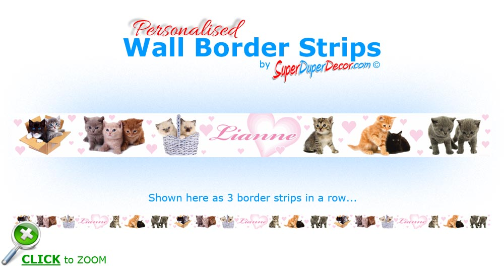 ADORABLE KITTENS personalised bedroom wall border strips