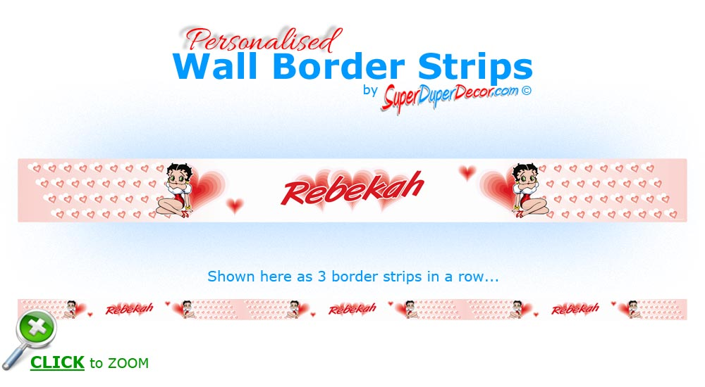BETTY BOOP HEARTS personalised bedroom wall border strips