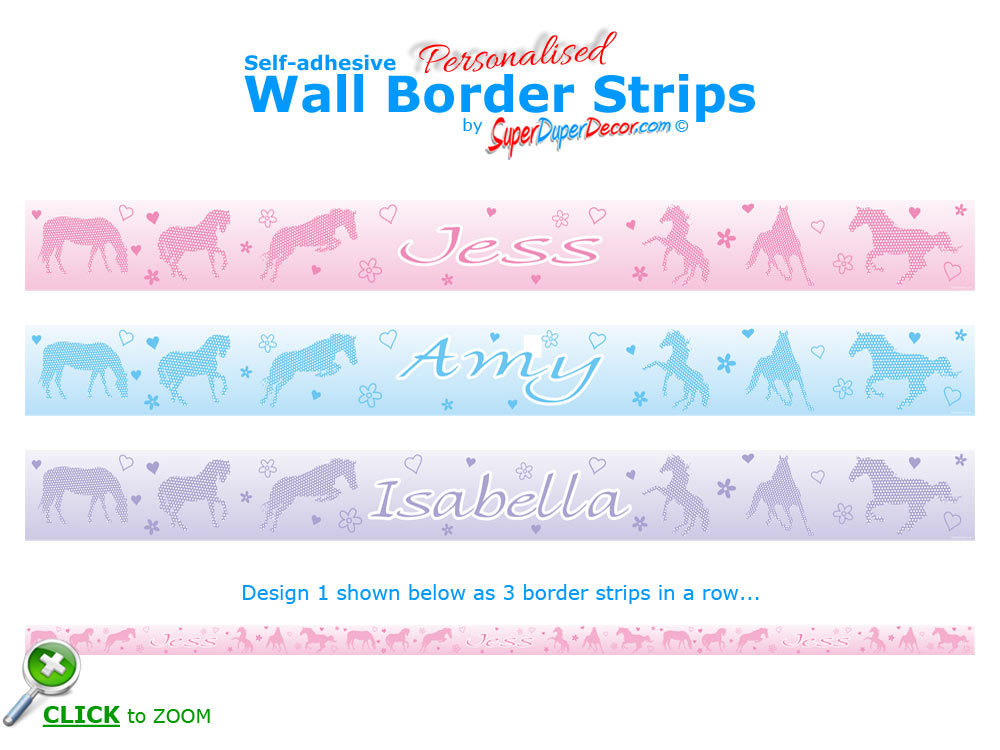 DOTTY ABOUT HORSES Personalised Self Adhesive Bedroom Wall Border Strips