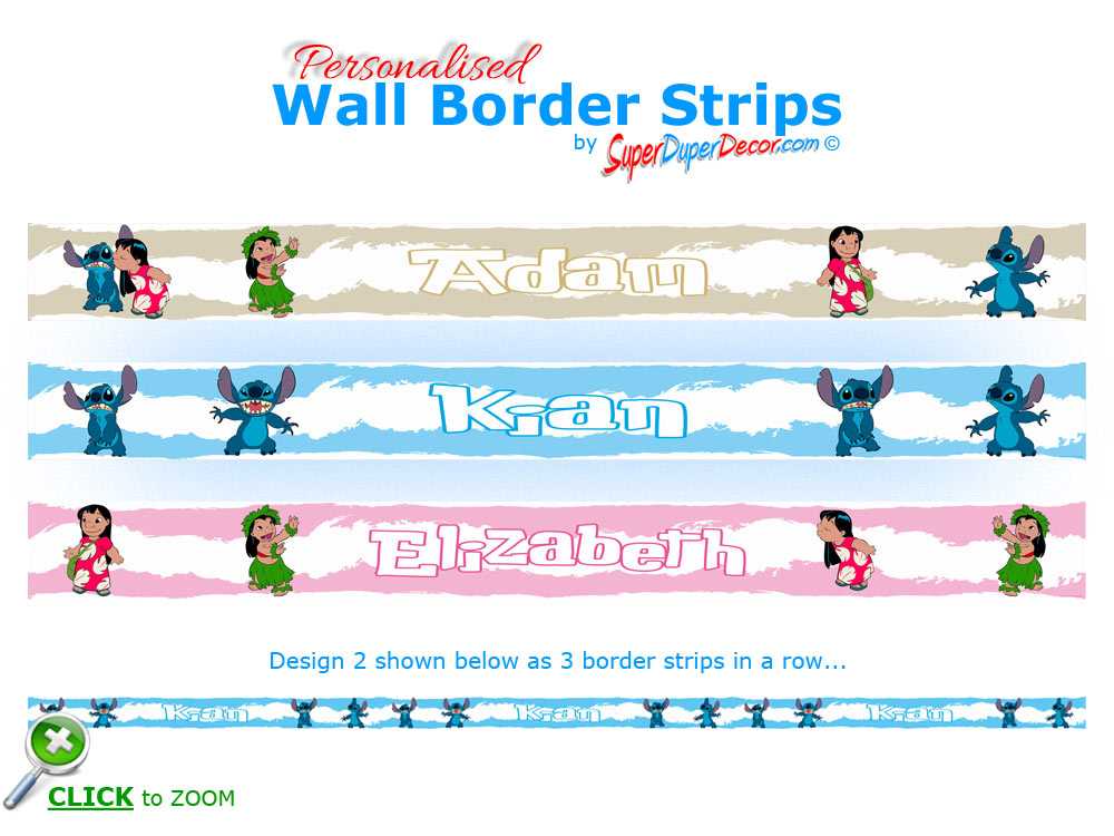 Great LILO AND STITCH Personalised Bedroom And Nursery Wall Border Strips