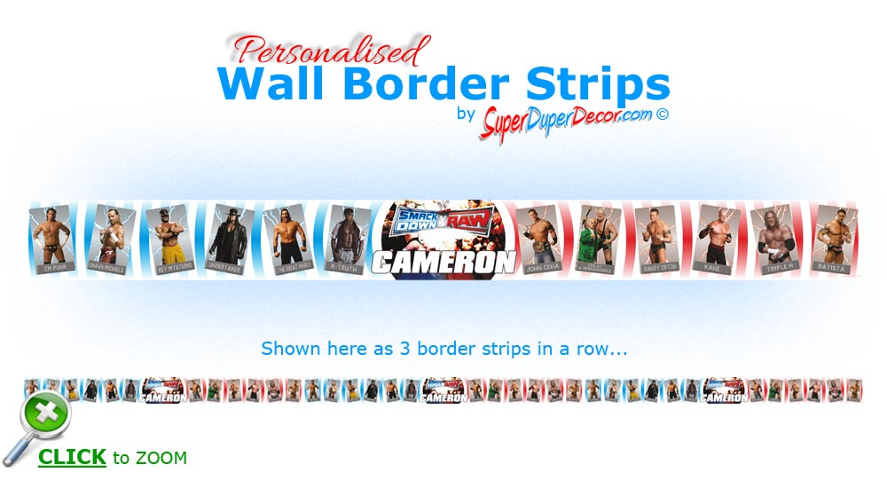 WWE SMACKDOWN vs RAW WRESTLERS personalised bedroom wall border strips. WWE Smackdown vs Raw Wrestlers border   SuperDuperDecor com