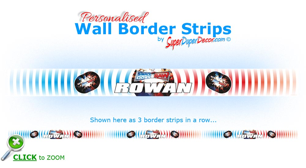 WWE SMACKDOWN vs RAW STRIPES personalised bedroom wall border strips