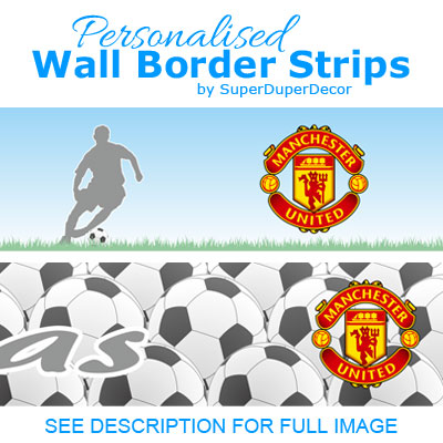 Football manchester united fc bedroom wallpaper border for Man u bedroom accessories