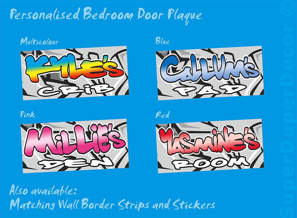 Graffiti Style Door Plaque Personalised Bedroom Name Sign