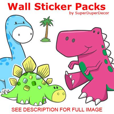 CUTE-DINOSAURS-bedroom-WALL-STICKER-PACK-childs-boys-girls    Cute Dinosaurs