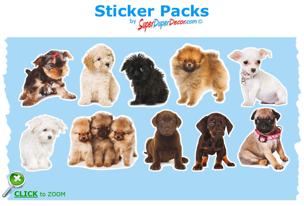 Adorable Puppies Wall Stickers Cute Dog Puppy Decals Great Wallpaper